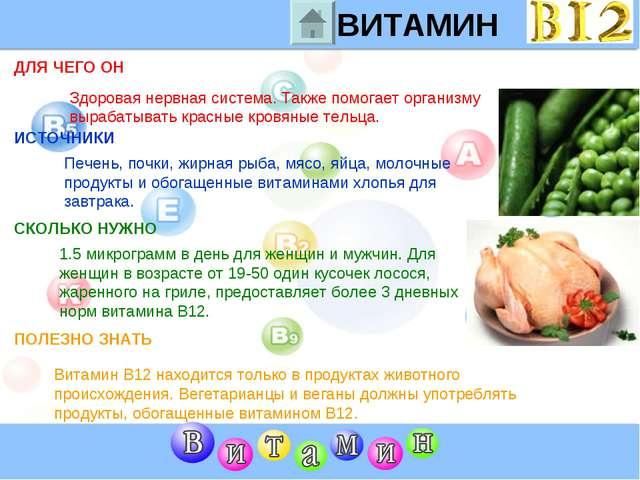 Для чего организму нужен витамин B12